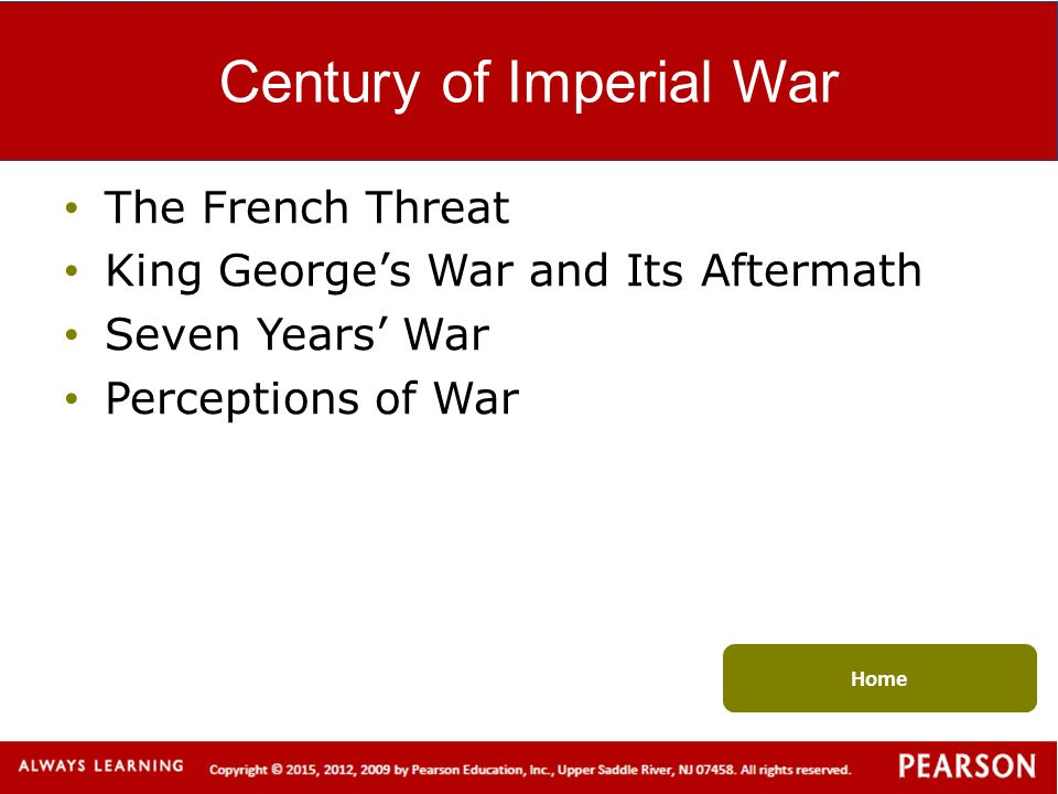 Century of Imperial War The French Threat King George's War and Its Aftermath Seven Years' War Perceptions of War Home