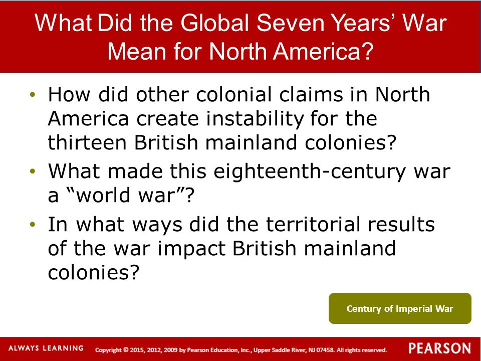 What Did the Global Seven Years' War Mean for North America? How did other colonial claims in North America create instability for the thirteen Britis