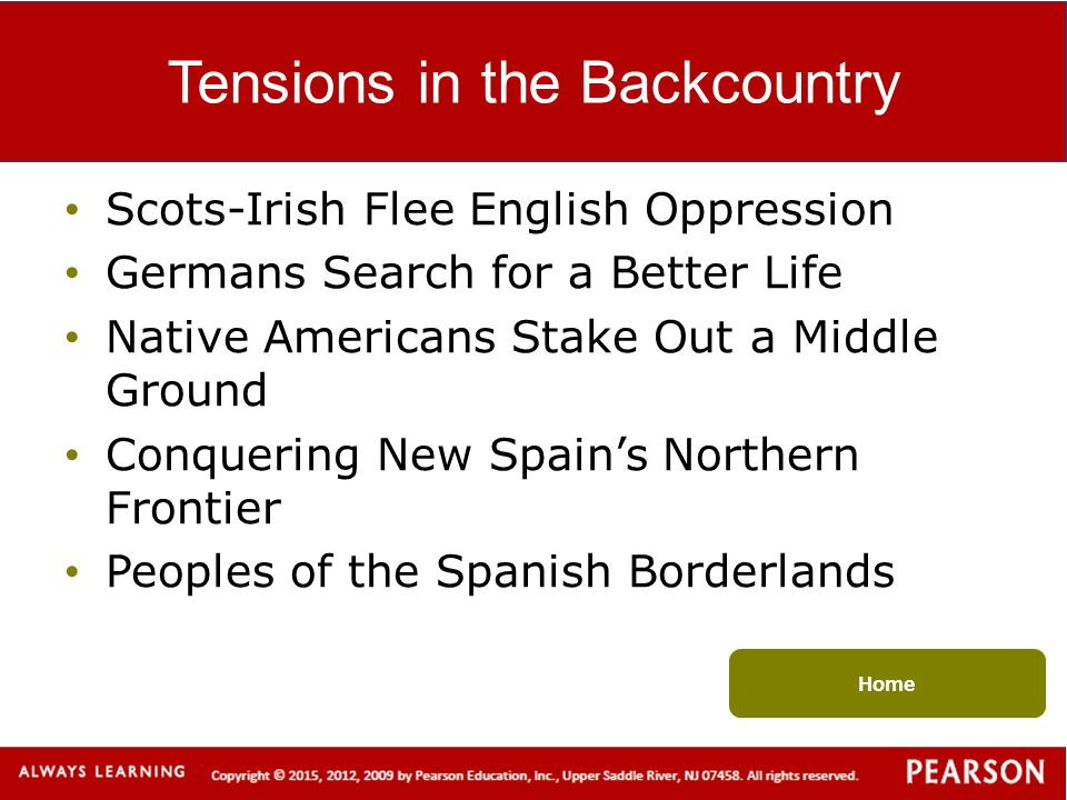 Tensions in the Backcountry Scots-Irish Flee English Oppression Germans Search for a Better Life Native Americans Stake Out a Middle Ground Conquering