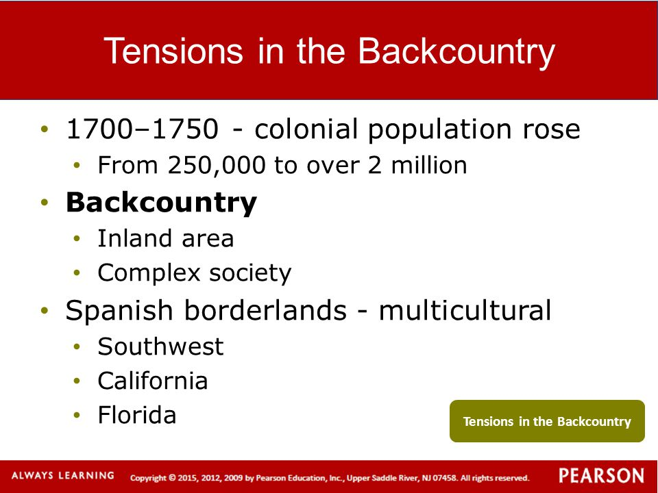 Tensions in the Backcountry 1700–1750 - colonial population rose From 250,000 to over 2 million Backcountry Inland area Complex society Spanish border