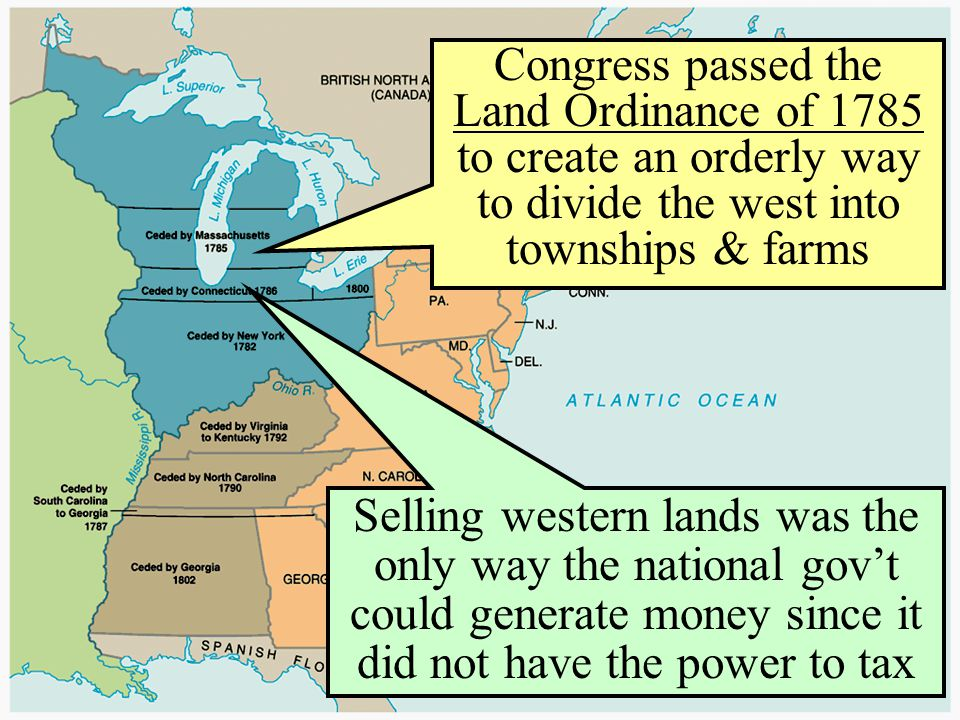 Congress passed the Land Ordinance of 1785 to create an orderly way to divide the west into townships & farms Selling western lands was the only way t