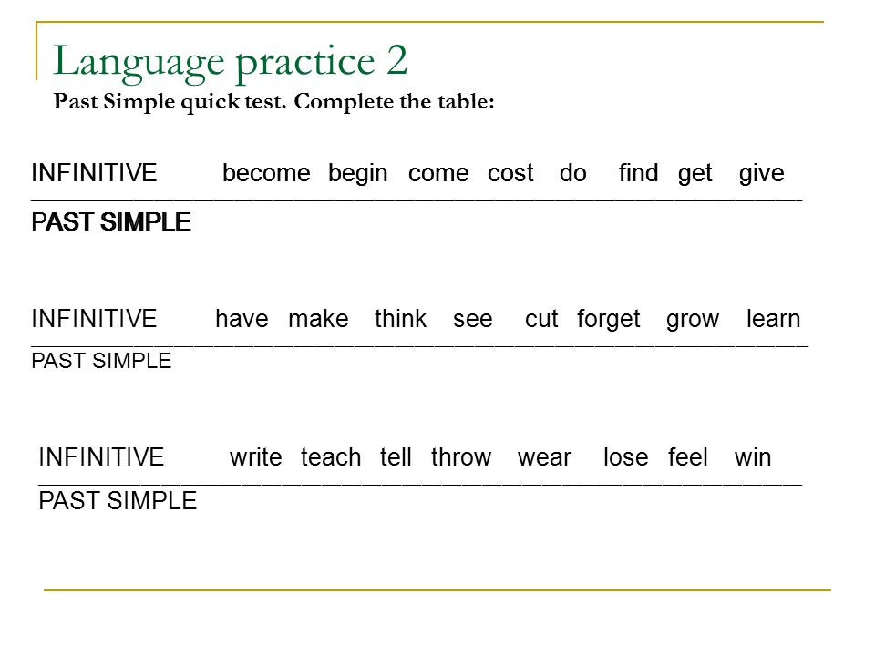 Language practice 2 Past Simple quick test.