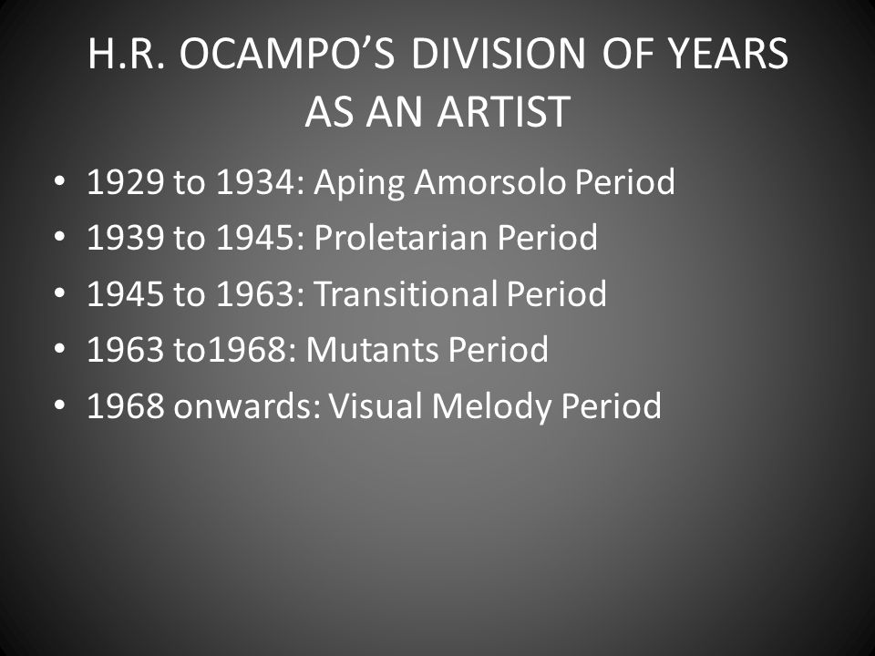TRIUMVIRATE OF NEO-REALIST Hernando Ocampo Vicente Manansala Cesar Legaspi Romeo Tabuena Anita Magsaysay-Ho Manuel Rodriguez Sr.