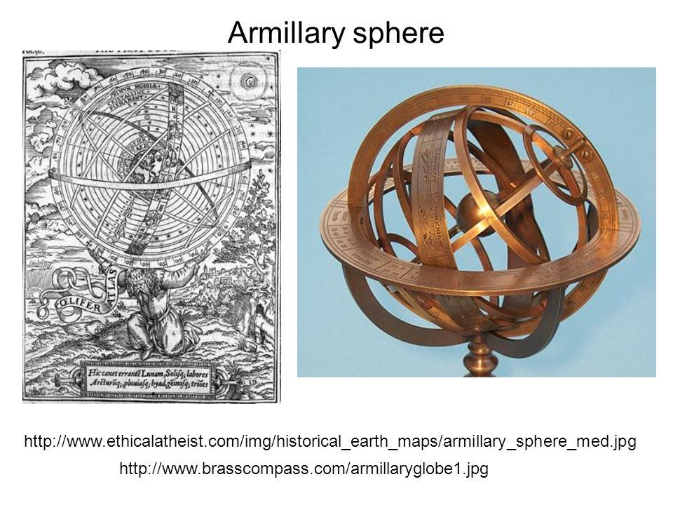 Armillary sphere http://www.ethicalatheist.com/img/historical_earth_maps/armillary_sphere_med.jpg http://www.brasscompass.com/armillaryglobe1.jpg