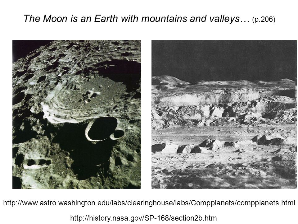 The Moon is an Earth with mountains and valleys… (p.206) http://www.astro.washington.edu/labs/clearinghouse/labs/Compplanets/compplanets.html http://history.nasa.gov/SP-168/section2b.htm