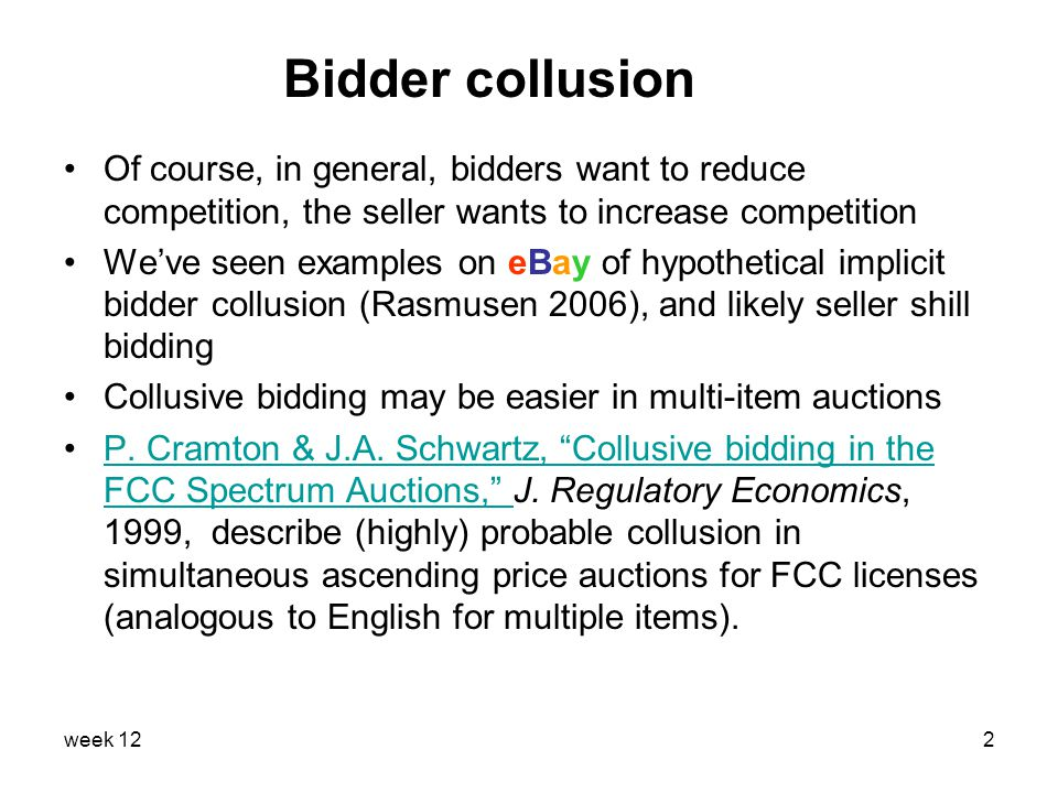 week 1223 Bilateral trading mechanisms Incentive-compatible means Individually rational means Ex post efficient means no incentive to lie about v's participation does not entail expected loss object is sold iff buyer values it more highly