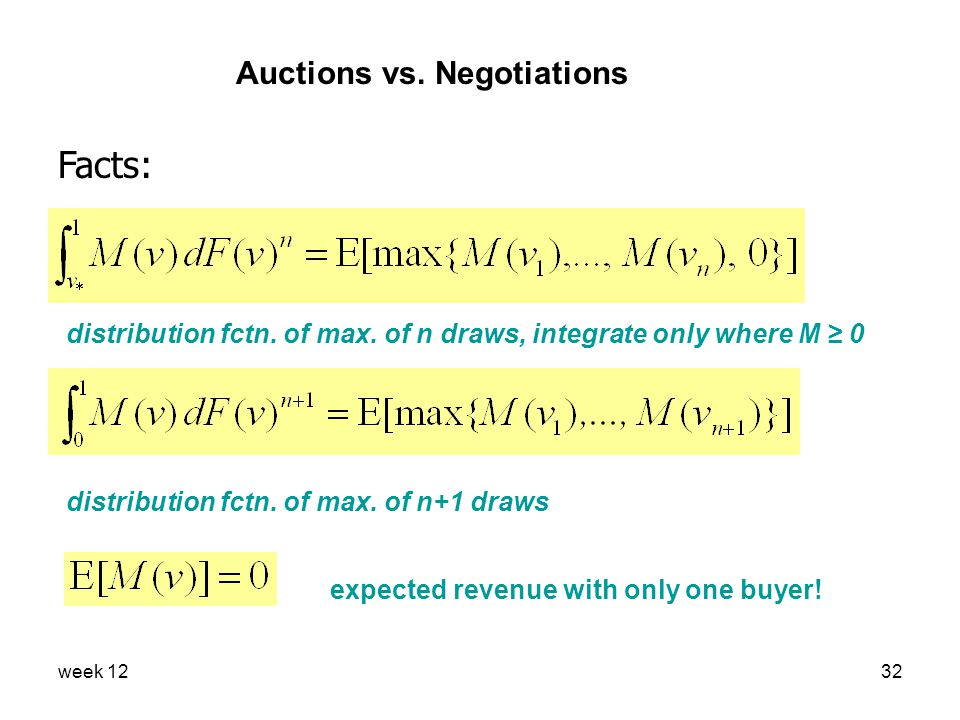 week 1232 Auctions vs. Negotiations Facts: distribution fctn.