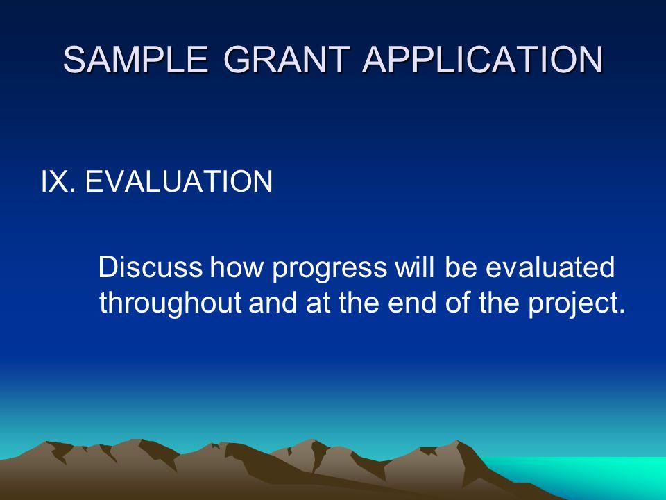 SAMPLE GRANT APPLICATION VIII.