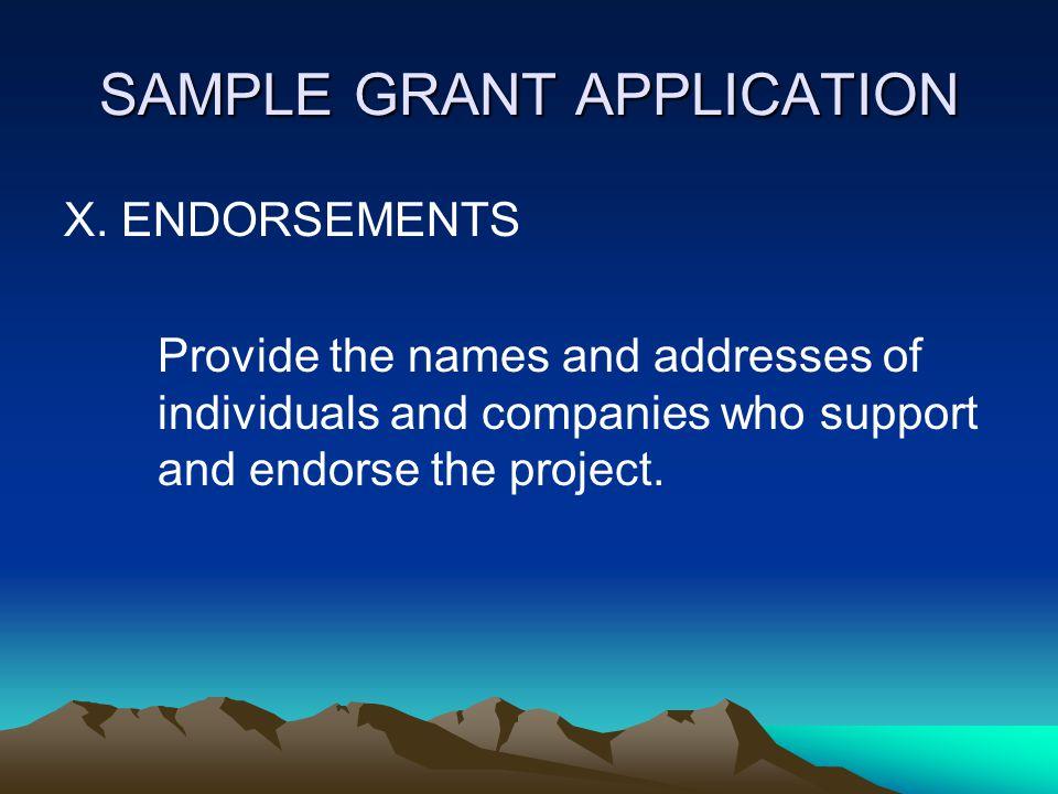 SAMPLE GRANT APPLICATION IX.