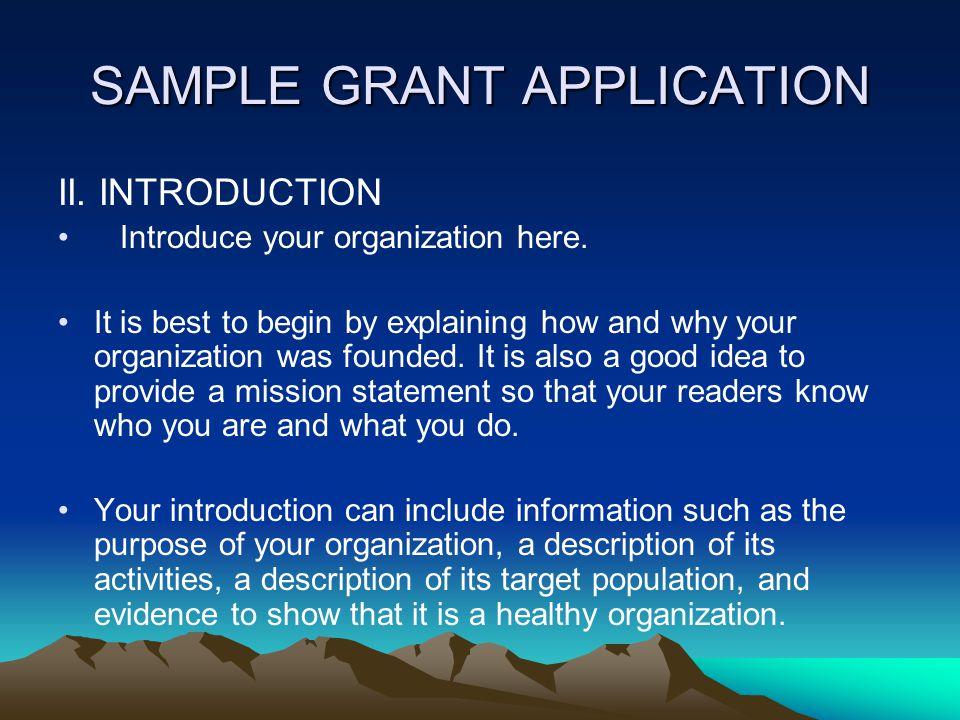 SAMPLE GRANT APPLICATION I.