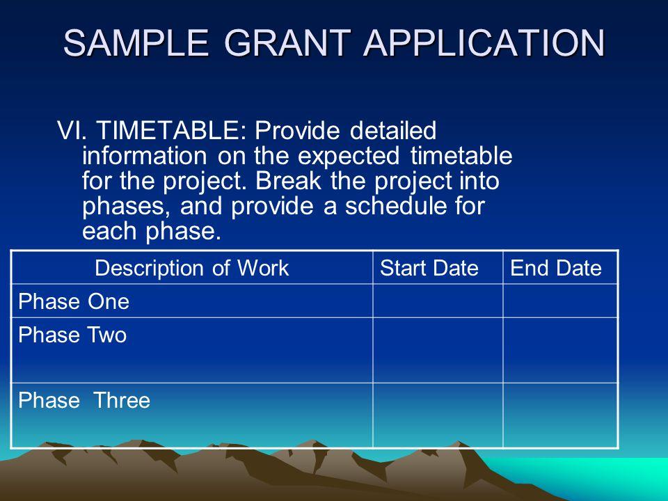 SAMPLE GRANT APPLICATION V.PROCEDURES/SCOPE OF WORK 1.Provide detailed information about proposed procedures, if available, and the scope of work. 2.I