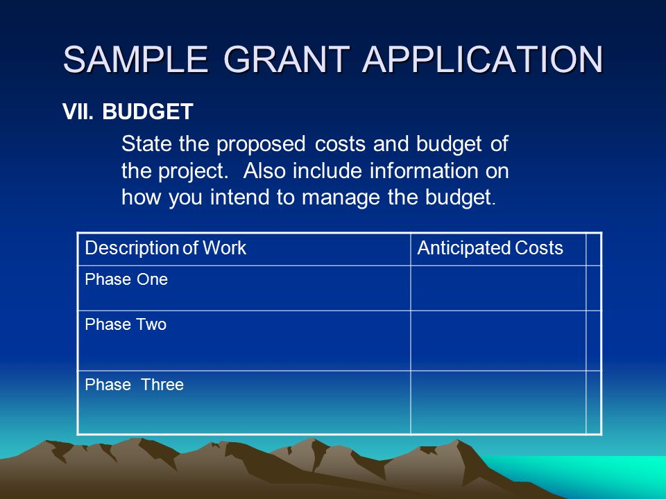 SAMPLE GRANT APPLICATION VI. TIMETABLE: Provide detailed information on the expected timetable for the project. Break the project into phases, and pro