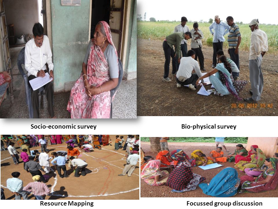 Socio-economic surveyBio-physical survey Resource Mapping Focussed group discussion