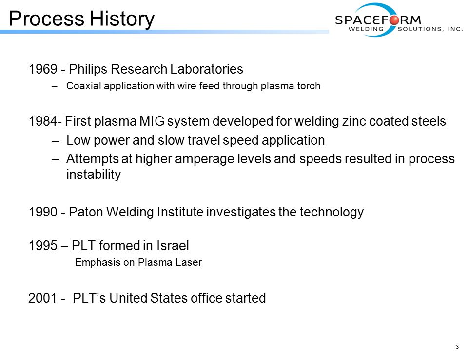 Process History 1969 - Philips Research Laboratories –Coaxial application with wire feed through plasma torch 1984- First plasma MIG system developed