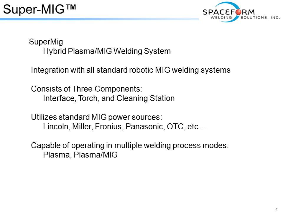 Super-MIG™SuperMig Hybrid Plasma/MIG Welding System Integration with all standardobotic MIG welding systems Integration with all standard robotic MIG welding systems Consists of Three Components: Consists of Three Components: Interface, Torch, and Cleaning Station Utilizes standard MIG power sources: Utilizes standard MIG power sources: Lincoln, Miller, Fronius, Panasonic, OTC, etc… Capable of operating in multiple welding process modes: Plasma, Plasma/MIG 4