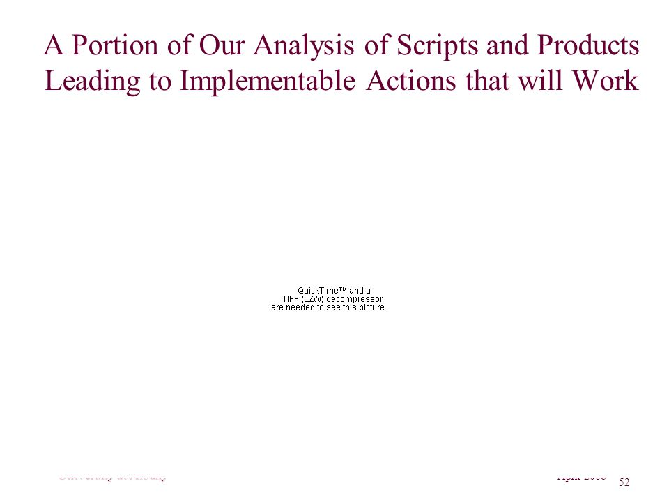 GP Richardson April 2008 52 Rockefeller College of Public Affairs and Policy University at Albany A Portion of Our Analysis of Scripts and Products Leading to Implementable Actions that will Work