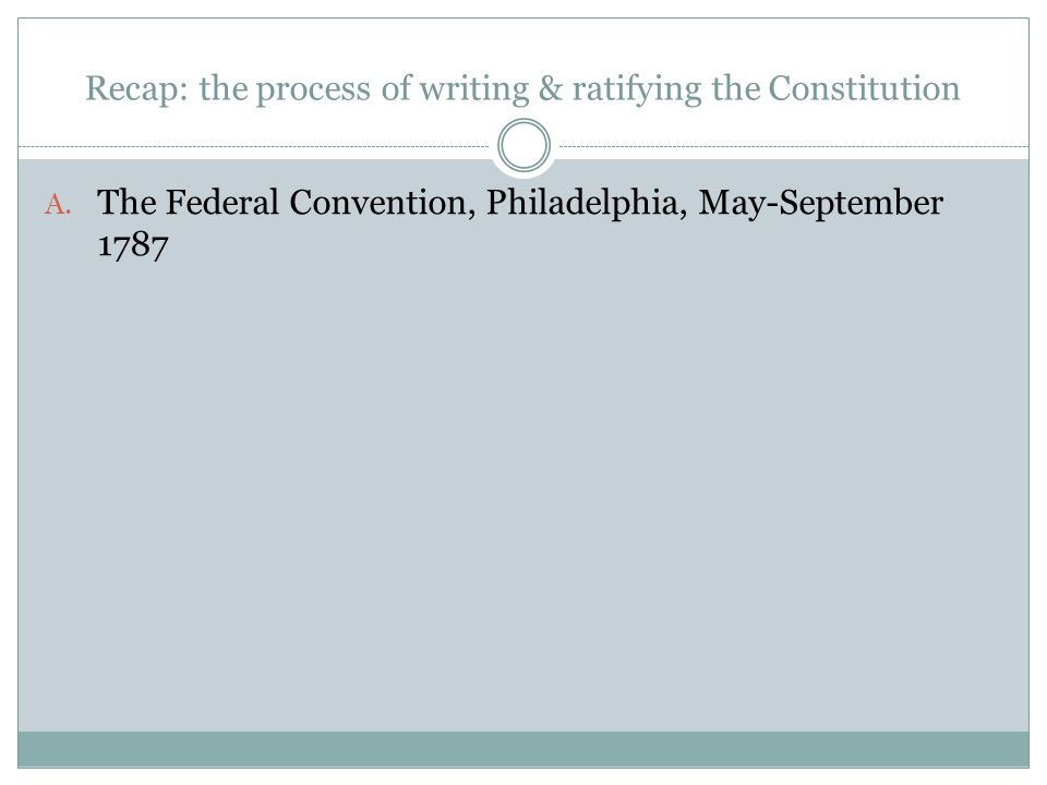 Recap: the process of writing & ratifying the Constitution A.