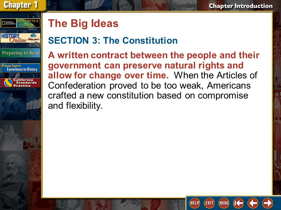 The Big Ideas 2 SECTION 3: The Constitution A written contract between the people and their government can preserve natural rights and allow for change over time.