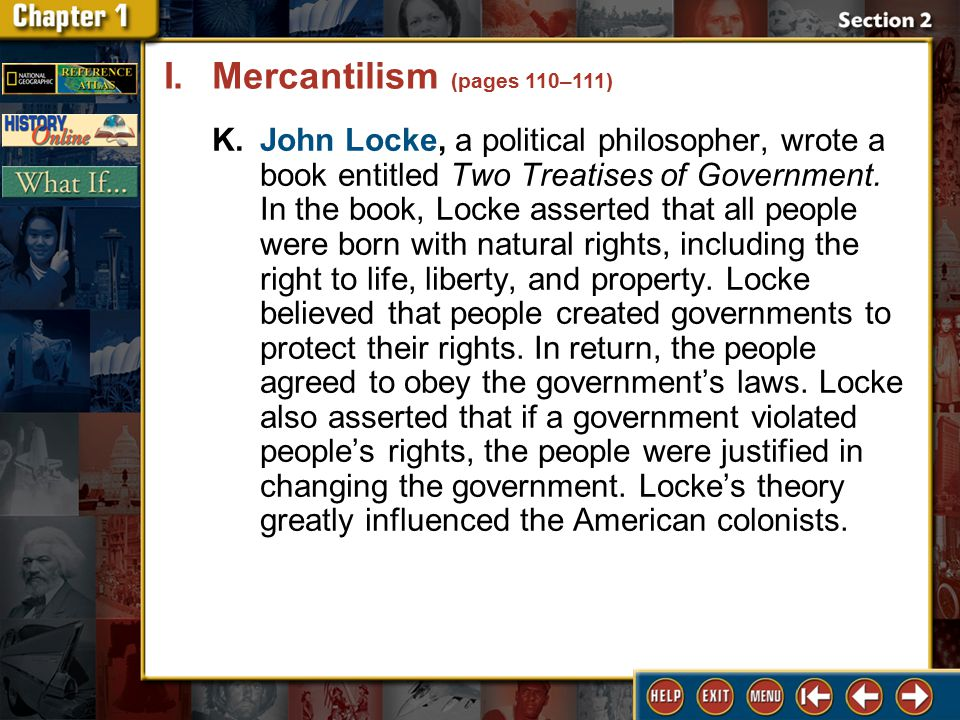 Section 2 DLN-9 K.John Locke, a political philosopher, wrote a book entitled Two Treatises of Government.