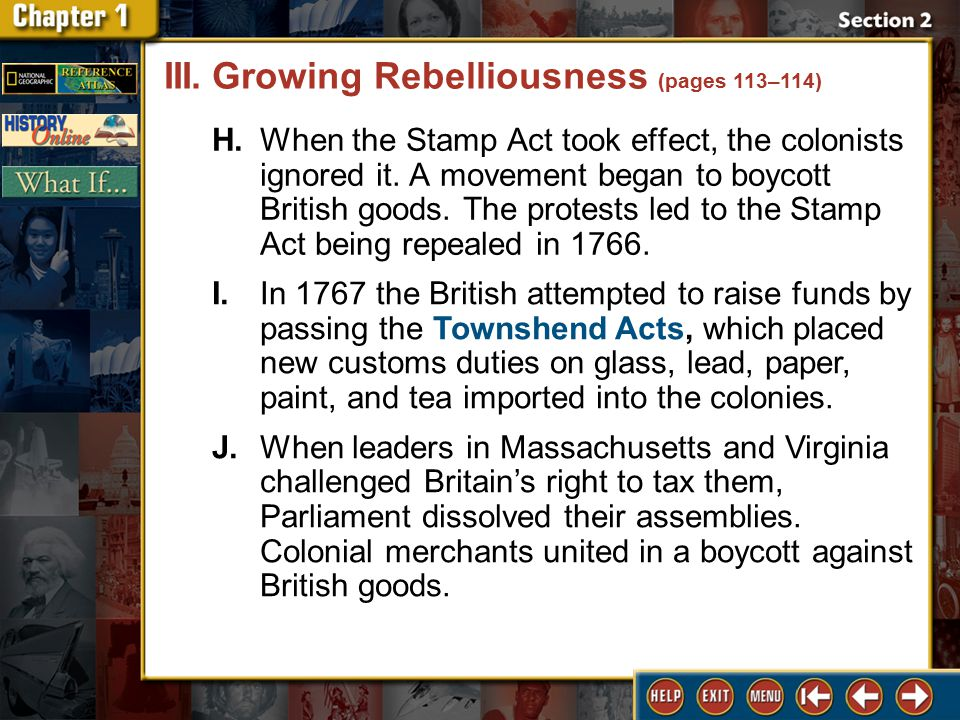 Section 2 DLN-20 H.When the Stamp Act took effect, the colonists ignored it.