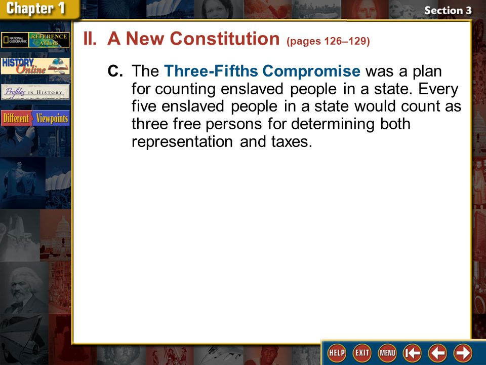 Section 3 DLN-10 C.The Three-Fifths Compromise was a plan for counting enslaved people in a state.