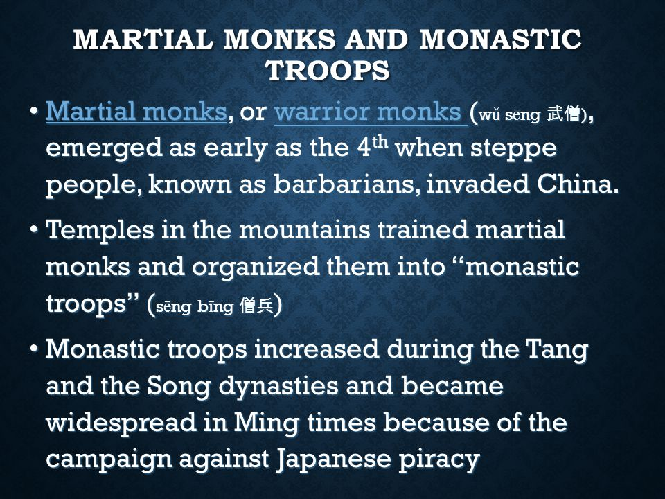 MARTIAL MONKS' FIGHTING TECHNIQUIES Staff-fighting and bare-handed fighting Staff-fighting and bare-handed fighting Staff was one of the eighteen belongings of itinerant monks known as ring staff , which was the emblem of monks Staff was one of the eighteen belongings of itinerant monks known as ring staff , which was the emblem of monks Ring staff also became symbol of religious authority Ring staff also became symbol of religious authority Staff not adorned with rings became the quintessential Buddhist weapon used by martial monks probably as early as the 4 th century Staff not adorned with rings became the quintessential Buddhist weapon used by martial monks probably as early as the 4 th century