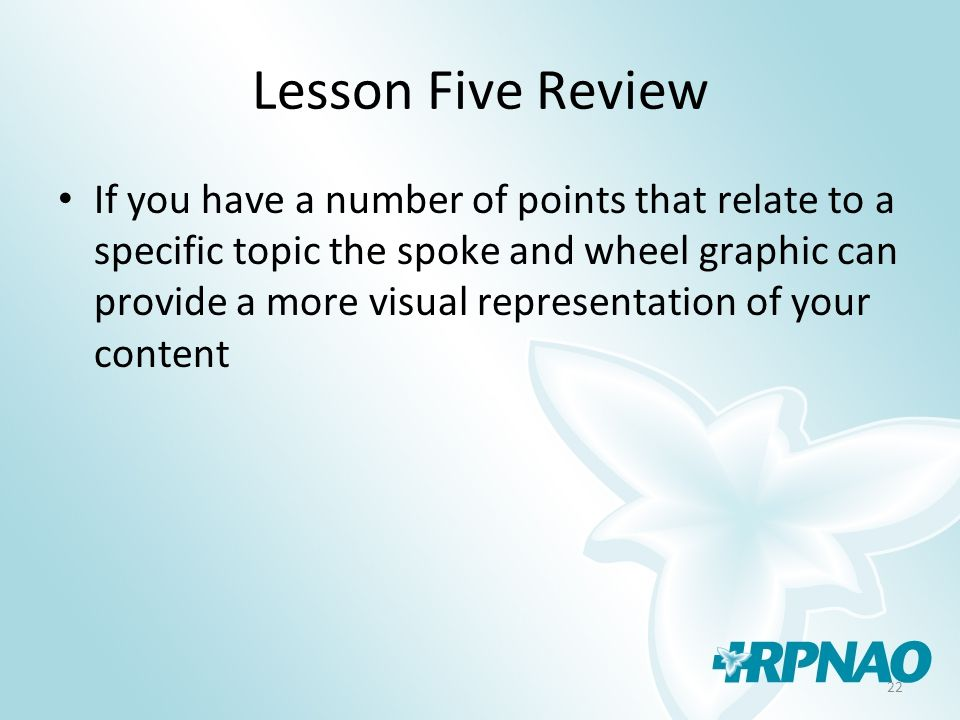 22 Lesson Five Review If you have a number of points that relate to a specific topic the spoke and wheel graphic can provide a more visual representation of your content