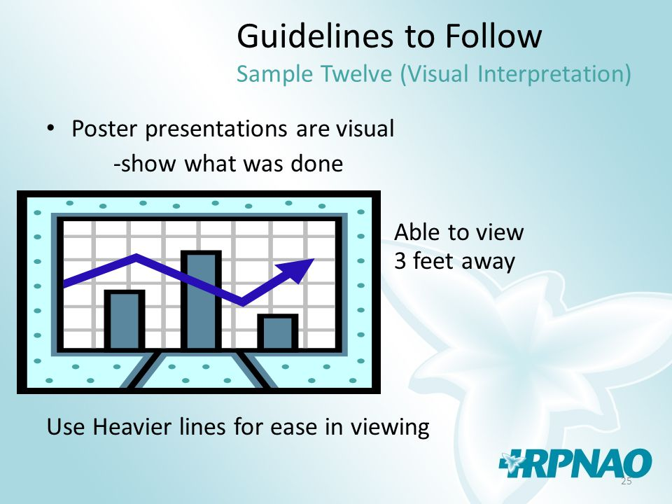 25 Guidelines to Follow Sample Twelve (Visual Interpretation) Poster presentations are visual -show what was done Able to view 3 feet away Use Heavier