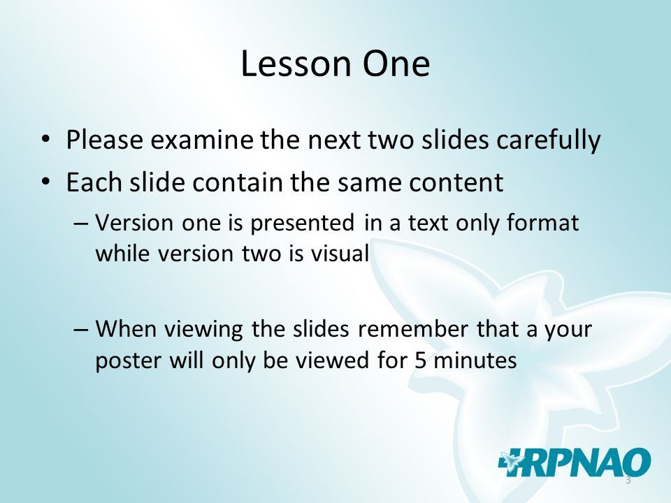 14 Lesson Three Review The same content is presented in both slides but using the visual allows the viewer to understand the concept is related to judging Main points were then condensed to one key bulleted word to supports the concepts