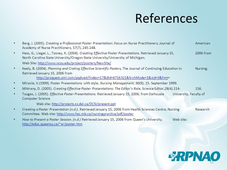 32 References Berg, J. (2005).