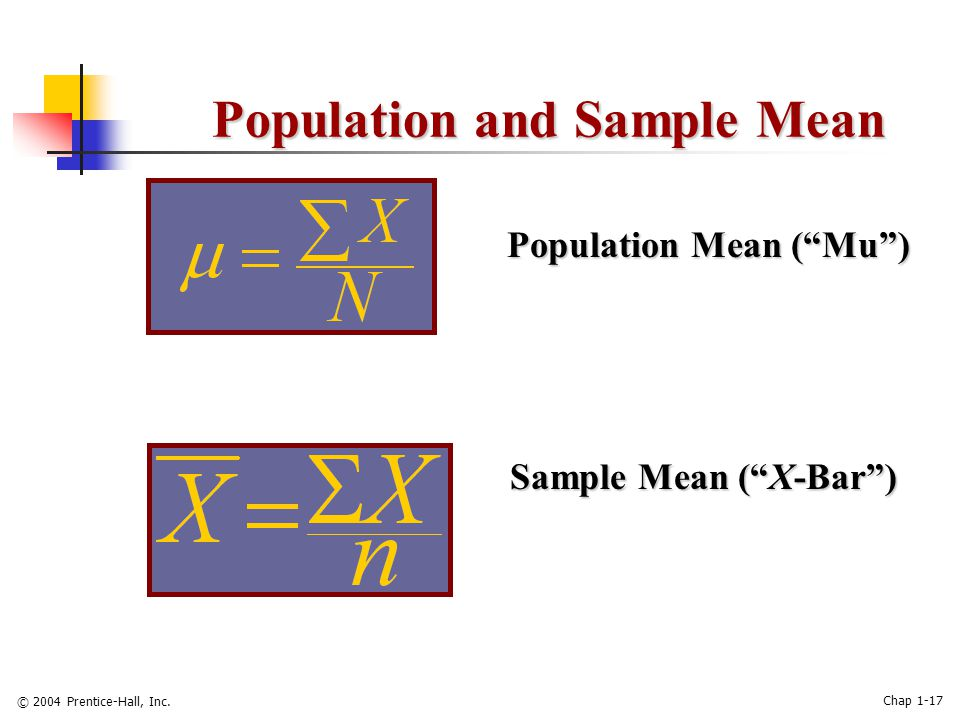 "© 2004 Prentice-Hall, Inc. Chap 1-17 Population and Sample Mean Population Mean (""Mu"") Sample Mean (""X-Bar"")"