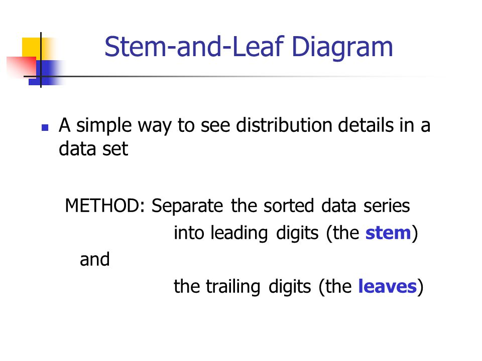 Stem-and-Leaf Diagram A simple way to see distribution details in a data set METHOD: Separate the sorted data series into leading digits (the stem) an