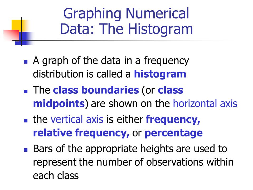 Graphing Numerical Data: The Histogram A graph of the data in a frequency distribution is called a histogram The class boundaries (or class midpoints) are shown on the horizontal axis the vertical axis is either frequency, relative frequency, or percentage Bars of the appropriate heights are used to represent the number of observations within each class