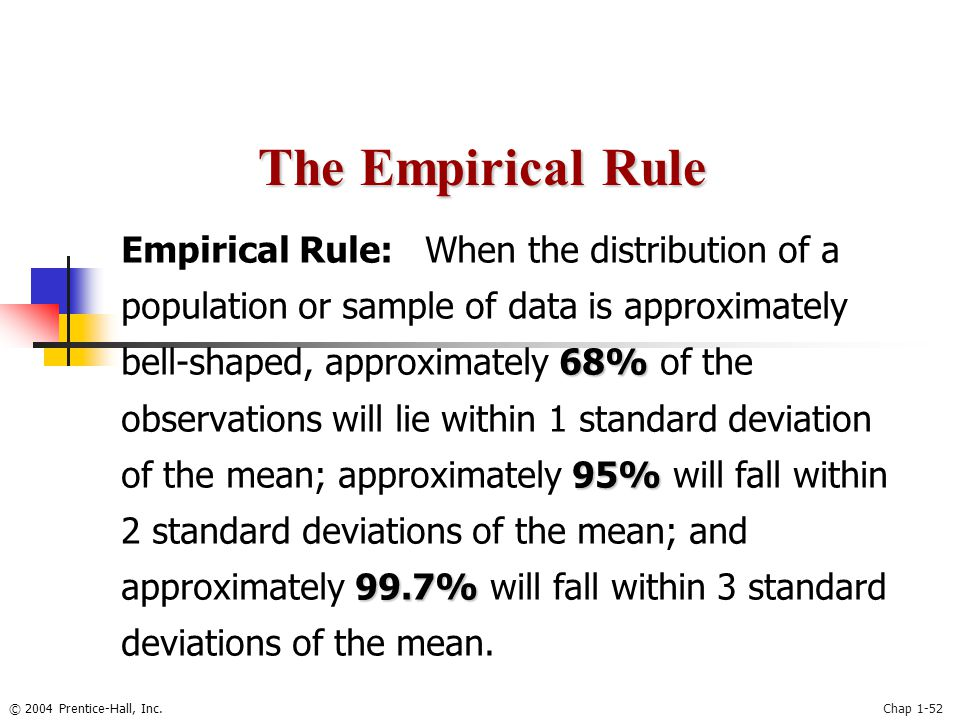 © 2004 Prentice-Hall, Inc.Chap 1-52 68% 95% 99.7% Empirical Rule: When the distribution of a population or sample of data is approximately bell-shaped