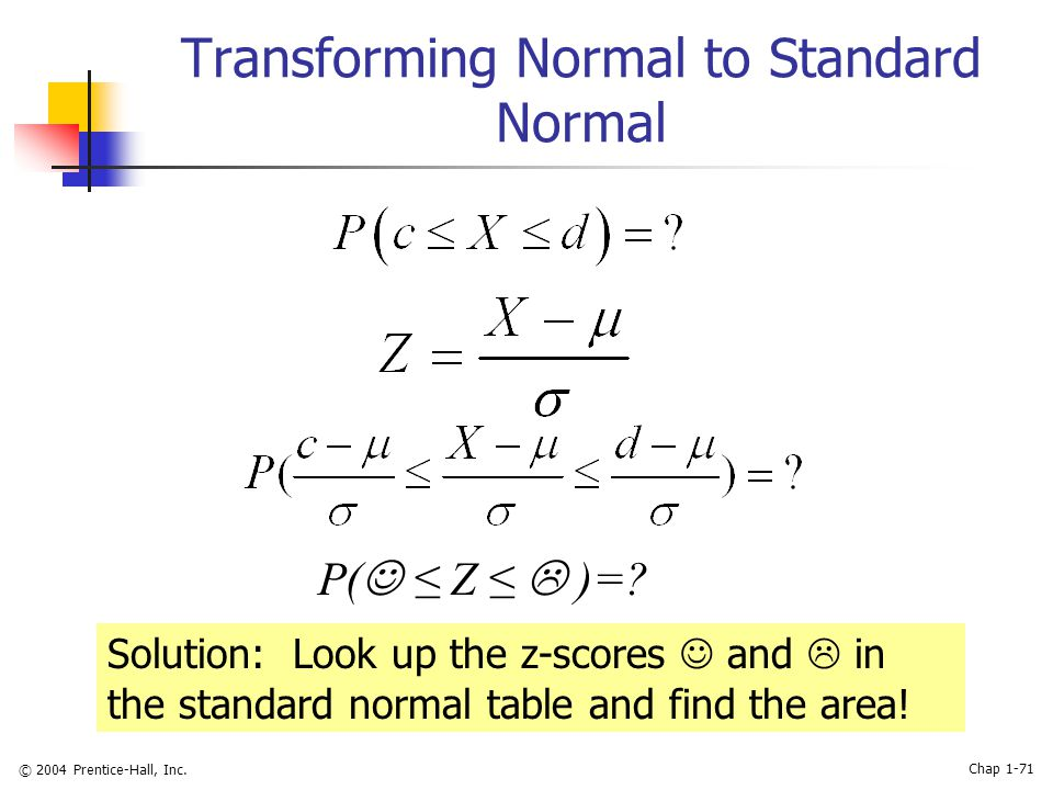 © 2004 Prentice-Hall, Inc. Chap 1-71 Transforming Normal to Standard Normal P( ≤ Z ≤  )=? Solution: Look up the z-scores and  in the standard normal