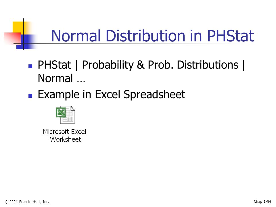© 2004 Prentice-Hall, Inc. Chap 1-84 Normal Distribution in PHStat PHStat | Probability & Prob. Distributions | Normal … Example in Excel Spreadsheet