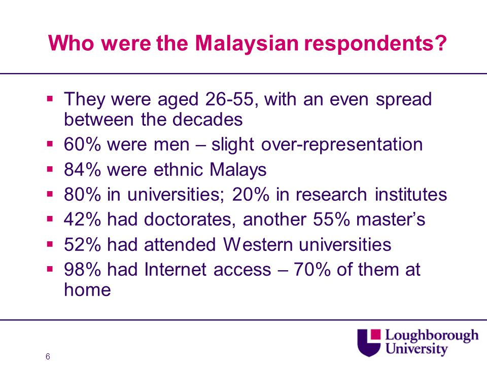 6 Who were the Malaysian respondents?  They were aged 26-55, with an even spread between the decades  60% were men – slight over-representation  84