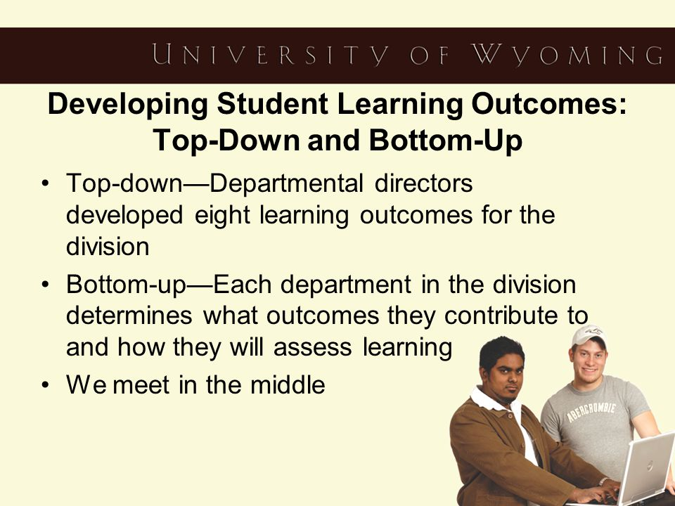 Developing Student Learning Outcomes: Top-Down and Bottom-Up Top-down—Departmental directors developed eight learning outcomes for the division Bottom-up—Each department in the division determines what outcomes they contribute to and how they will assess learning We meet in the middle