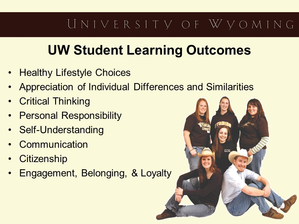 UW Student Learning Outcomes Healthy Lifestyle Choices Appreciation of Individual Differences and Similarities Critical Thinking Personal Responsibility Self-Understanding Communication Citizenship Engagement, Belonging, & Loyalty