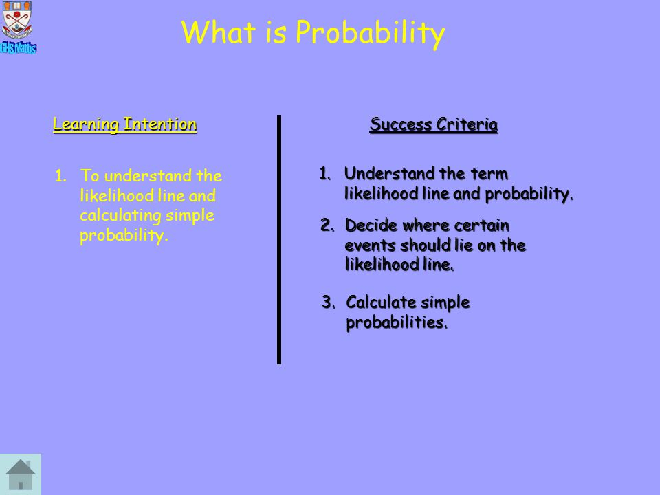 What is Probability 10.50 CertainEvensImpossible Not very likely Very likely Winning the Lottery School Holidays Baby Born A Boy Seeing a butterfly In July Go back in time Likelihood Line Probability is a measure of how likely an event is to happen