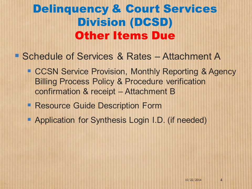 Delinquency & Court Services Division (DCSD) Other Items Due  Schedule of Services & Rates – Attachment A  CCSN Service Provision, Monthly Reporting