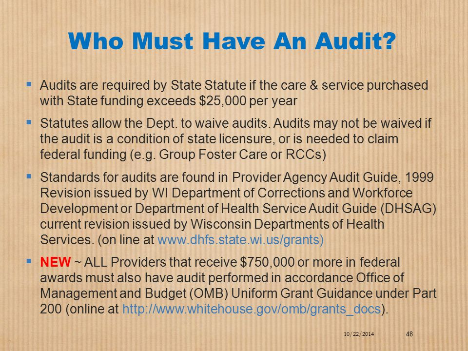 Who Must Have An Audit?  Audits are required by State Statute if the care & service purchased with State funding exceeds $25,000 per year  Statutes