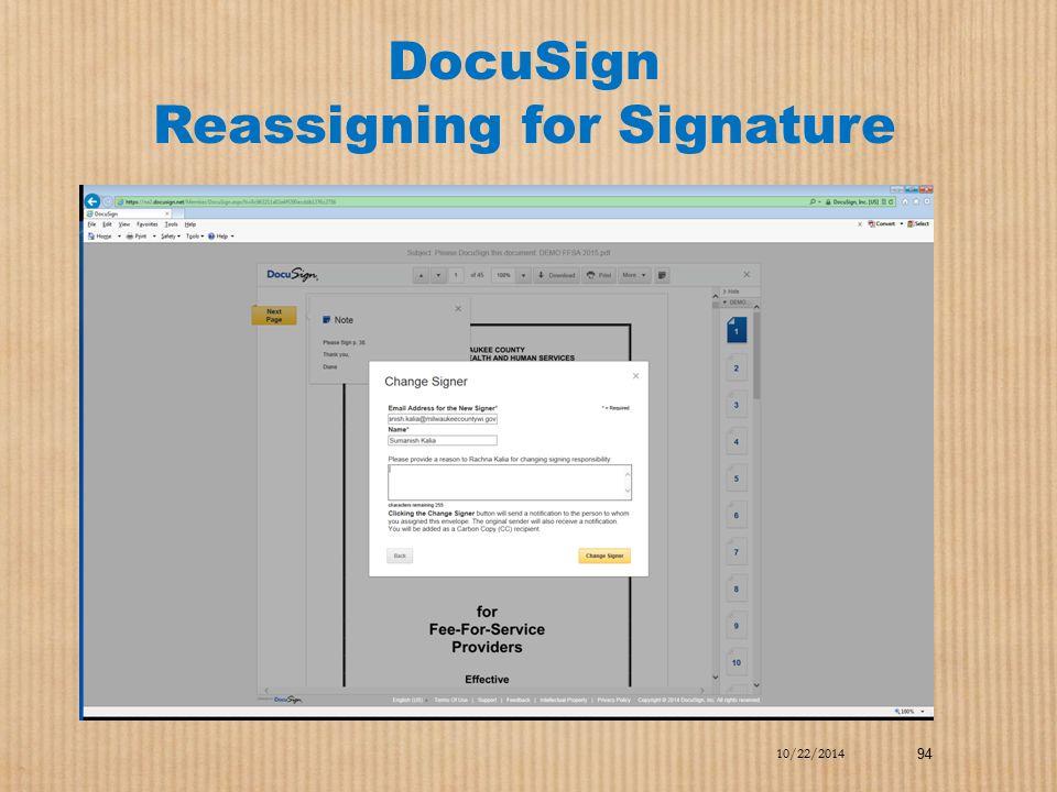 DocuSign Reassigning for Signature 10/22/2014 94