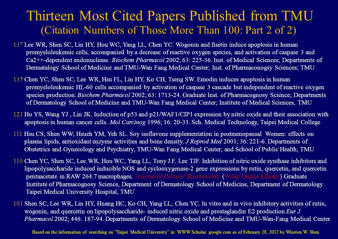 Thirteen Most Cited Papers Published from TMU (Citation Numbers of Those More Than 100: Part 2 of 2) 137 Lee WR, Shen SC, Lin HY, Hou WC, Yang LL, Chen YC.
