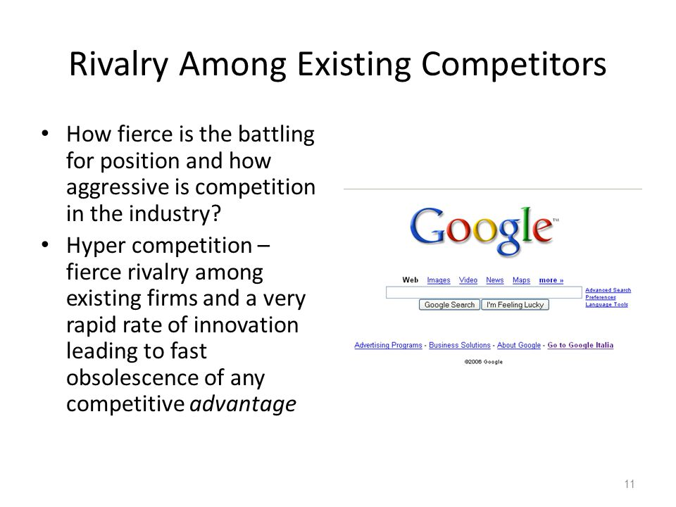 Rivalry Among Existing Competitors How fierce is the battling for position and how aggressive is competition in the industry? Hyper competition – fier