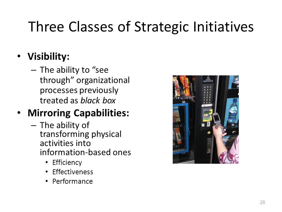 """Three Classes of Strategic Initiatives Visibility: – The ability to """"see through"""" organizational processes previously treated as black box Mirroring C"""