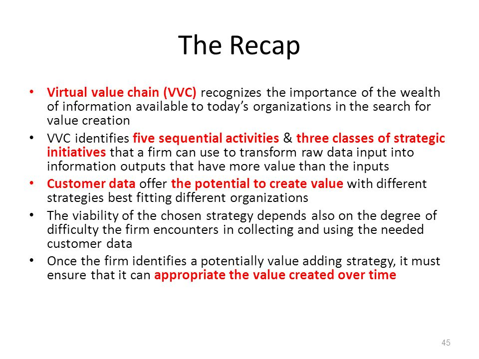 The Recap Virtual value chain (VVC) recognizes the importance of the wealth of information available to today's organizations in the search for value