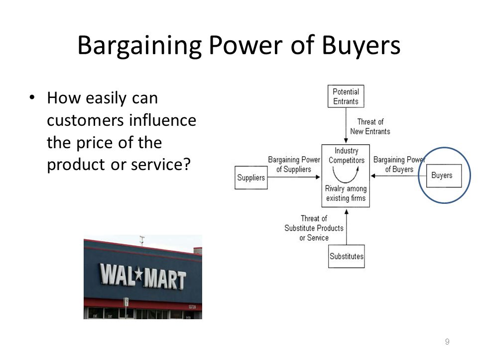 Bargaining Power of Buyers How easily can customers influence the price of the product or service? 9