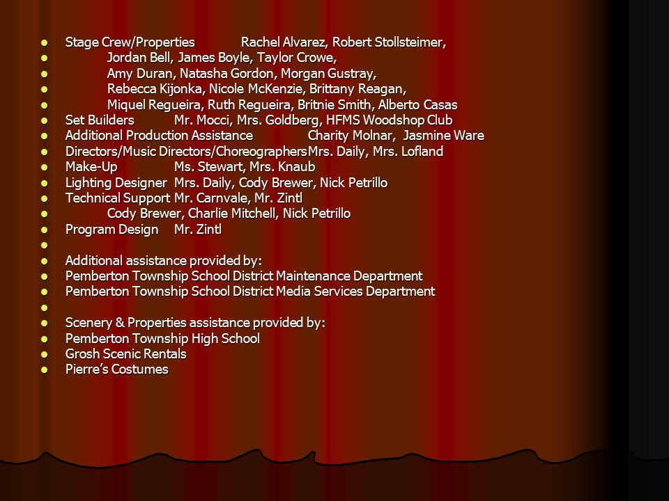 Stage Crew/PropertiesRachel Alvarez, Robert Stollsteimer, Stage Crew/PropertiesRachel Alvarez, Robert Stollsteimer, Jordan Bell, James Boyle, Taylor Crowe, Jordan Bell, James Boyle, Taylor Crowe, Amy Duran, Natasha Gordon, Morgan Gustray, Amy Duran, Natasha Gordon, Morgan Gustray, Rebecca Kijonka, Nicole McKenzie, Brittany Reagan, Rebecca Kijonka, Nicole McKenzie, Brittany Reagan, Miquel Regueira, Ruth Regueira, Britnie Smith, Alberto Casas Miquel Regueira, Ruth Regueira, Britnie Smith, Alberto Casas Set BuildersMr.