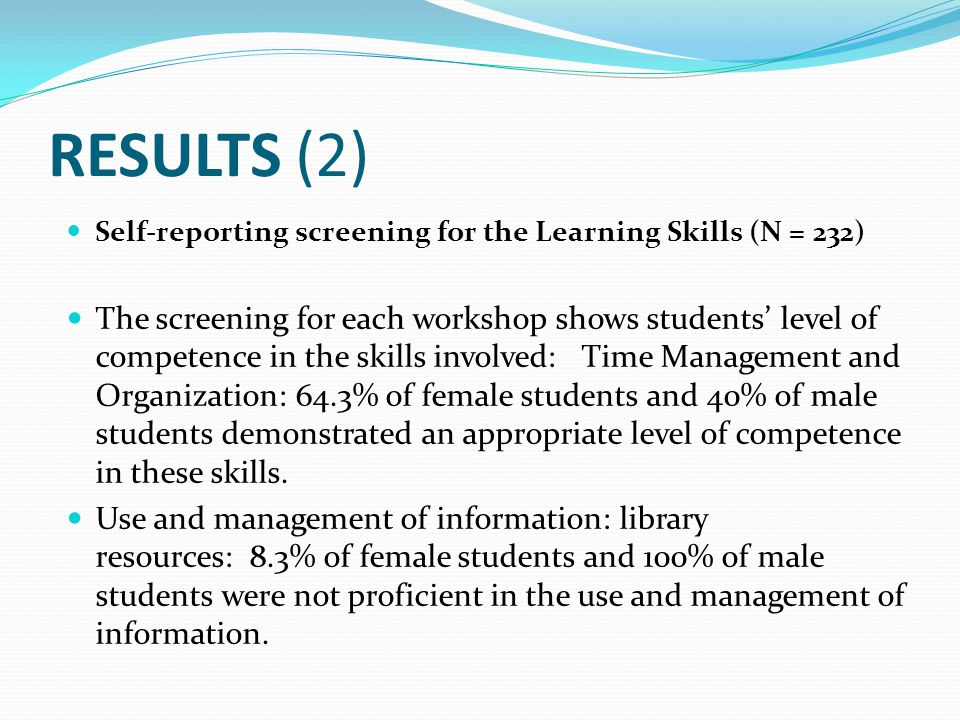 RESULTS (2) Self-reporting screening for the Learning Skills (N = 232) The screening for each workshop shows students' level of competence in the skil